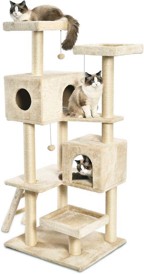 AmazonBasics - Torre en árbol con cerramiento y cueva doble para gatos, extragrande, 71,1x165,1x61 cm, beige: Amazon.es: Productos para mascotas