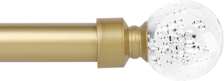 "knobelite 1 Inch Diameter Curtain Rods, Single Window Rod with Crystal Ball Finials Brackets & Hardware, Round Crystal Curtain Rod,Adjustable Length 22""-48"", Drapery Single Rod Set, 1 Pack, Gold"