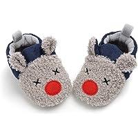Glamour Girlz Baby Girls Boys Plush Grey /& Navy Red Nose Reindeer Boot Booties Slippers
