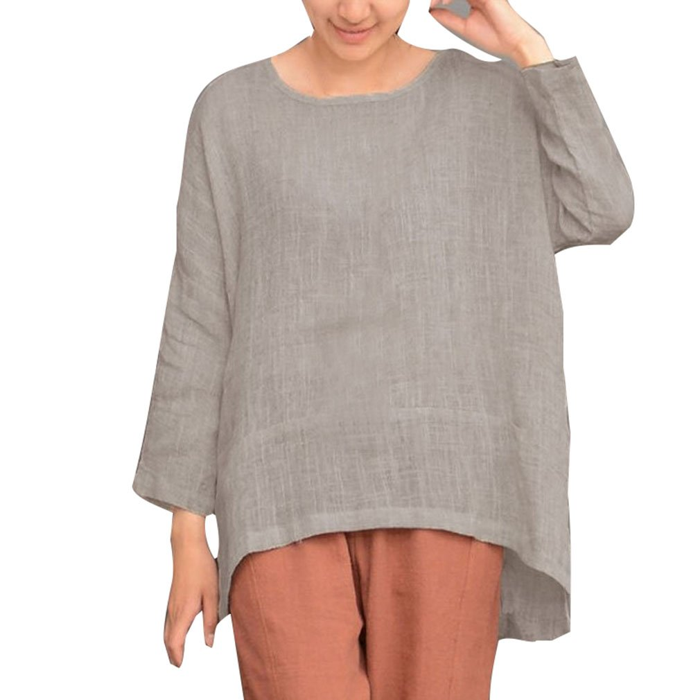 Yying Mujer Manga Larga Camiseta Tops Oversize Vendimia Casual Blusas Asimétrico Camisa Loose T-Shirt Pullover Llanura Cuello Redondo tee Top: Amazon.es: ...