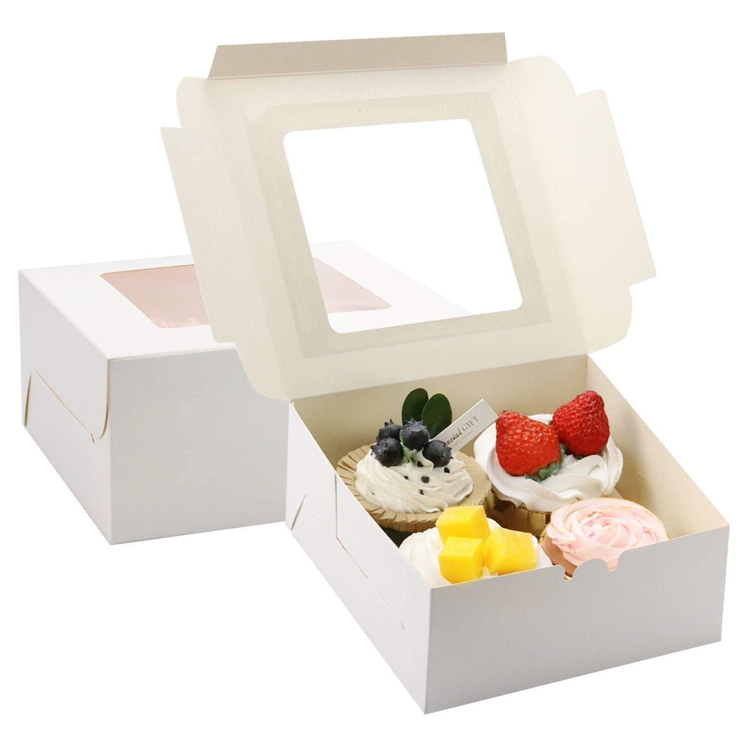 JOERSH Bakery Cupcake Boxes 20 Packs, White Cupcake Carrier, Food Grade Kraft Bakery Boxes with Window and Inserts to Fit 4 Cupcakes or Muffins(6''x6''x3