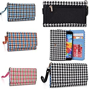 Smartphone wallet wristlet Houndstooth pattern in Black/White: Universal design fits LG G3 S