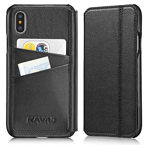 KAVAJ iPhone X/XS Case Leather Dallas Black, Supports Wireless Charging (Qi), Slim-Fit Genuine Leather iPhone X Wallet Case Leather Flip Case Folio with Business Card Holder Cover Book Case