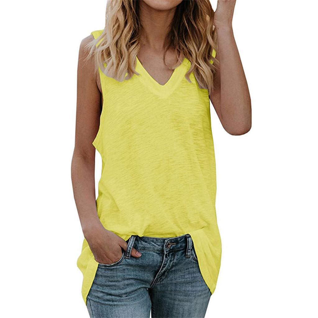 Womens Tank Tops V Neck Sleeveless Solid Casual Loose Tunic Vest Lightweight Shirts (S, Yellow)