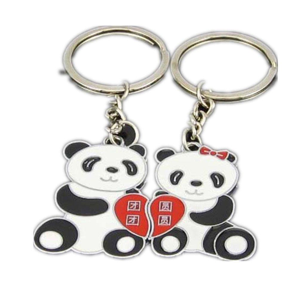 1 Pair Lovely Panda Keychain Black White Stainless Steel Key Rings Couple Lover Key Chain School Fob