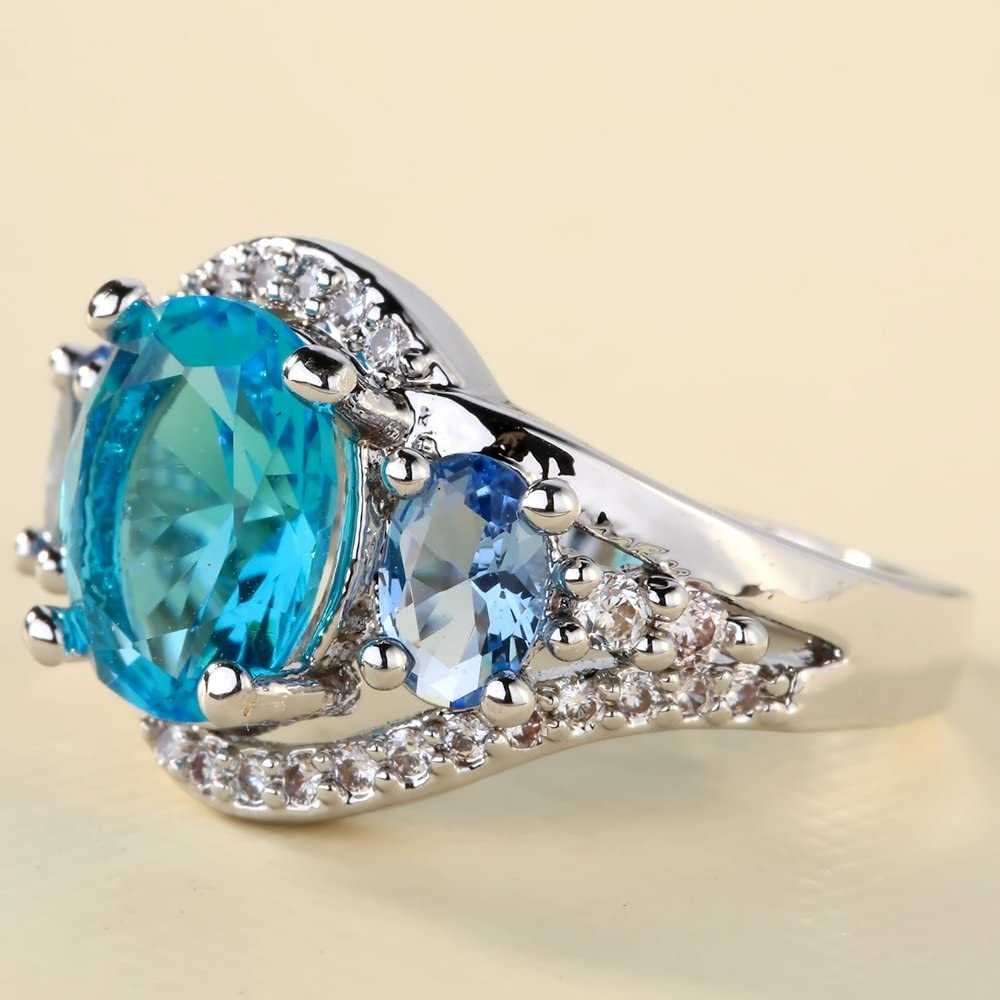 Bigood Vogue Bijoux Accessoire Bague Jolie Bleu Cubic Zirconia pour Femme