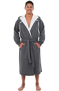 b261d0fdc0b Alexander Del Rossa Mens Warm Sweatshirt Cotton Robe with Hood