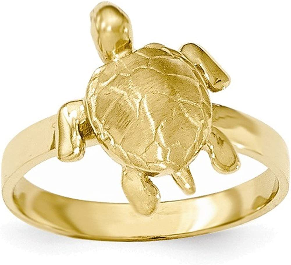 Jewelry Adviser Rings 14K Gold Polished /& Textured Sea Turtle Ring