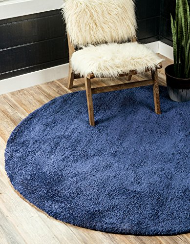 Unique Loom Solo Collection Plush Casual Navy Blue Round Rug (6' x 6')