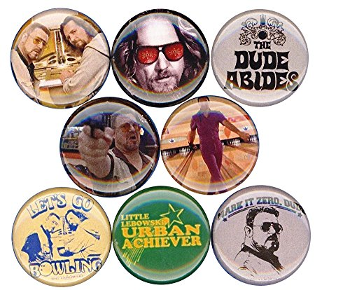 [The Big Lebowski 8 NEW button badge pin dude abides jesus mark it zero donny] (Lebowski Rug Costume)