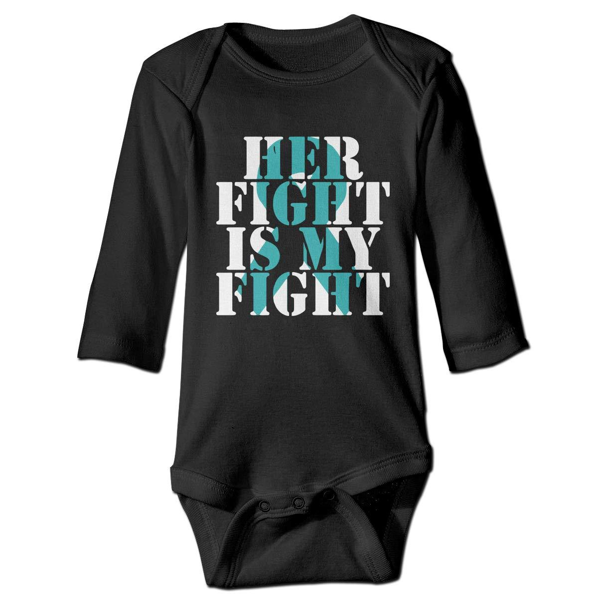 CZDedgQ99 Newborn Ovarian Cancer Awareness Long Sleeve Climbing Clothes Bodysuits Suit 6-24 Months