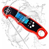 Senbiter Meat, Waterproof Instant Read Kitchen Cooking Thermometer with Back Lit Display, Fordable Long Probe for Food, Candy, Milk, Tea, Bbq Grill Smokers