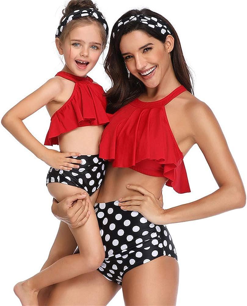 Family Matching Outfit Mohter Daughter Swimsuit Women Girl Halter Ruffles Bikini Bathing Suit Swimwear Beachwear