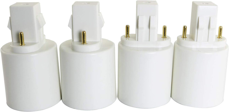 Longdex GX23 To E27//E26 Socket Base 4PCS GX23 To E27//E26 Halogen CFL Light Bulb Lamp Adapter Converter 2Pin Holder