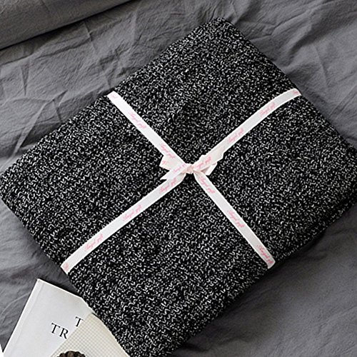 FannysShop Knit Throw Blanket, 100% Cotton Kids Blanket Super Soft & Cozy Cover Blanket Bedroom Couch Sofa Blanket (Large(71'' x 79'')) (Cuddly Knit Collection)