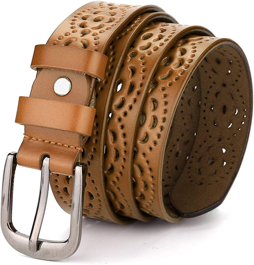 uxcell Hollow Floral Retro Vintage Faux Leather Belt With Buckle for Women