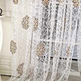 Sunsoaruk Mandala Flower Voile Window Curtain Sheer Panel Tassel Tulle Curtains for Bedroom Living Room Home Decoration