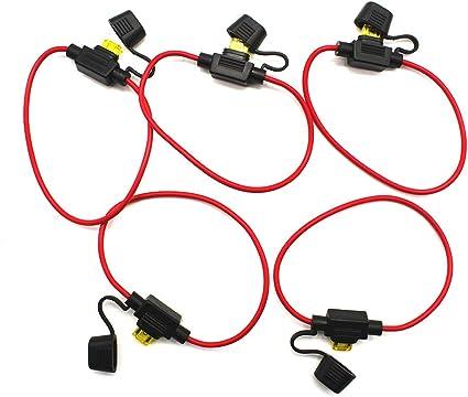 2 pcs auto voiture porte-fusible en ligne Audio Noir Rouge DC 12V