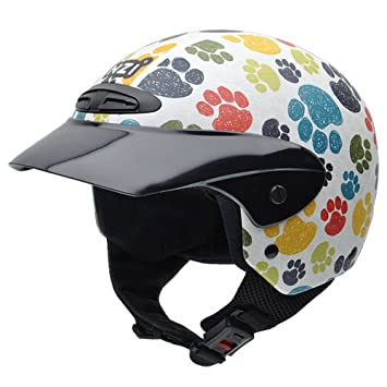 NZI 050272G707 Single Jr Graphics Pawprints Casco de Moto, Rosa, Talla 52-53