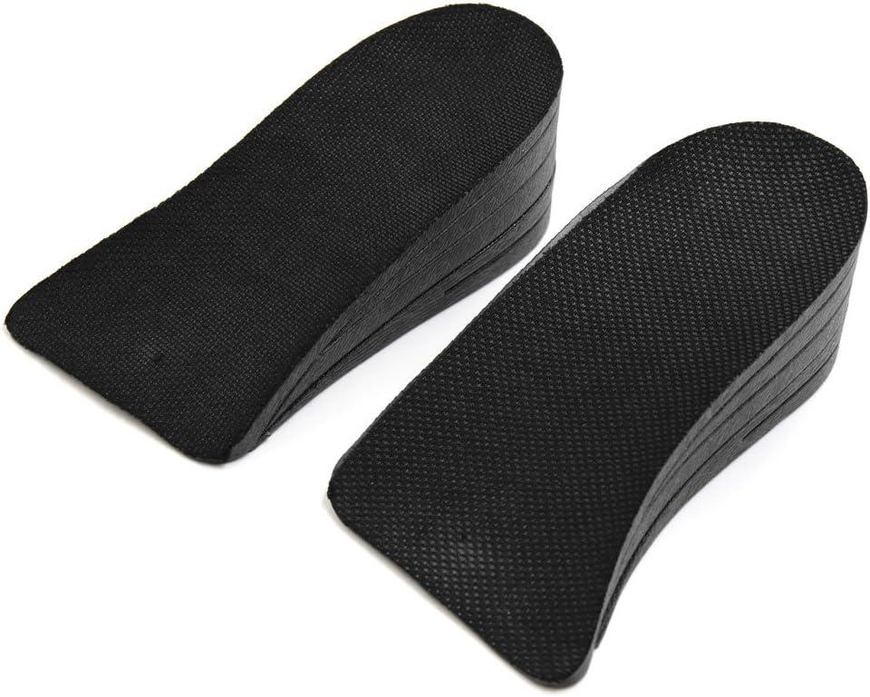 sourcing map 1 par de 5cm negro Unisex doble capas de goma zapatos de suela de aumentar la altura del coj/ín