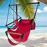 Kuyal Hanging Hammock Chair Deluxe Swing Outdoor Chair W/Pillow and Drink Holder for Backyard, Bedroom, Porch, Outdoor Camping Well-equipped S-shaped Hook (Red) For Sale