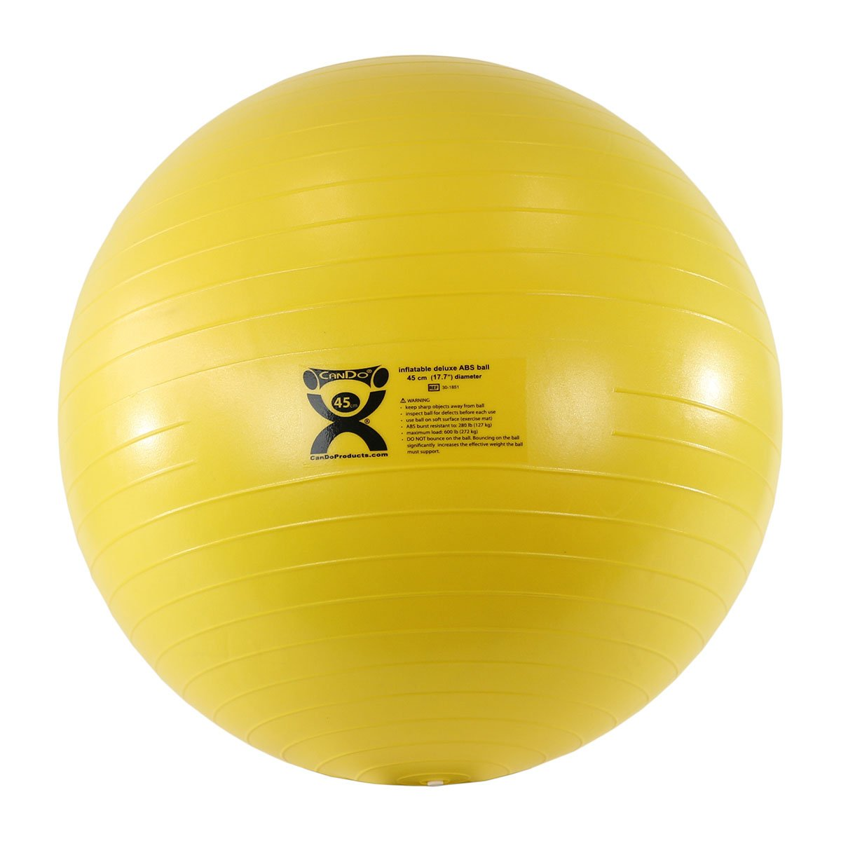 CanDo Deluxe ABS Inflatable Exercise Ball, Yellow, 17.7''