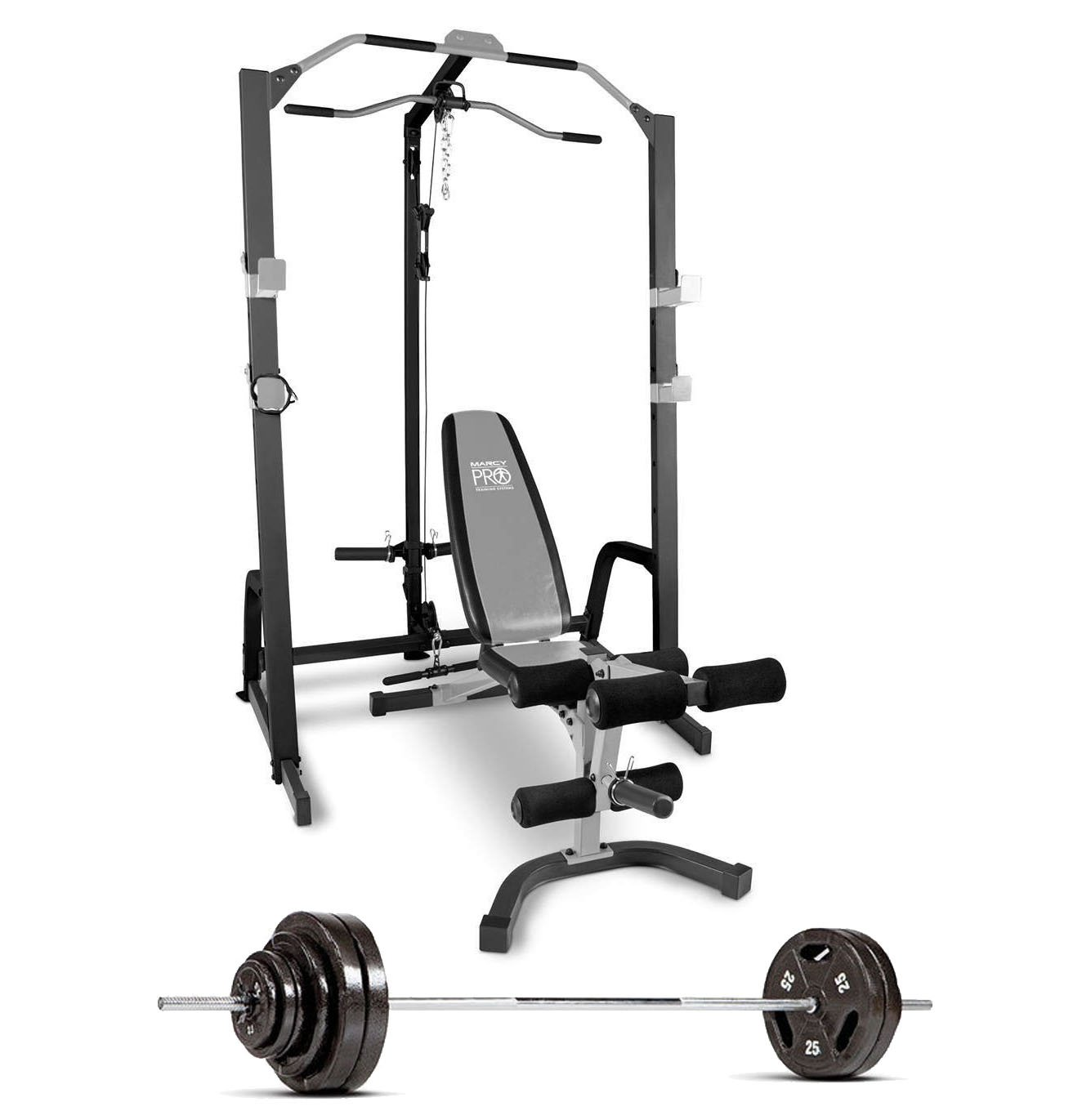 Amazon marcy home gym fitness deluxe cage system with bench