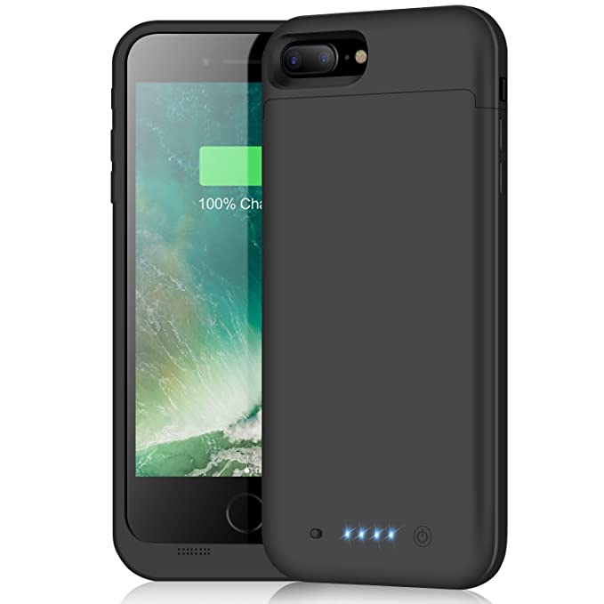 on sale f71ed 42a2c Battery Case for iPhone 8 Plus/7 Plus,7000mAh Portable Charging Case  External Protective Charger Power Bank for iPhone 7plus 8plus Black