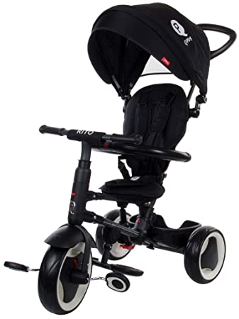 e02c1ac8510 Folding Tricycle Stroller Child Qplay Rito with Push Handle Bar and Canopy  Black: Amazon.co.uk: Baby