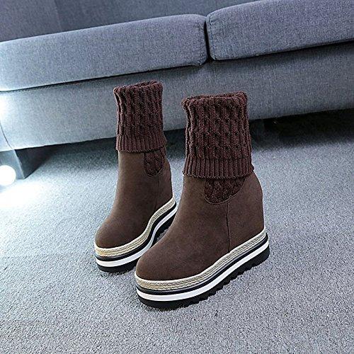 alta HSXZ Coffee botas PU Café para invierno Toe Null Round muslo planas Confort botas Zapatos de Negro mujer exterior rqr7U