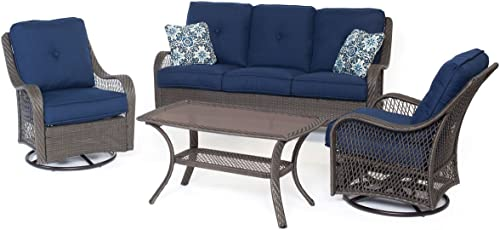 Hanover ORLEANS4PCSW-G-NVY Orleans 4 Piece All-Weather Patio Set