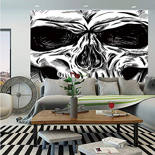 Halloween Huge Photo Wall Mural,Gothic Dead Skull Face Close Up Sketch Evil Anatomy Skeleton Artsy Illustration Decorative,Self-Adhesive Large Wallpaper for Home Decor 108x152 inches,Black White