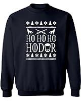 "Ugly Christmas Game of Thrones Inspired ""Ho Ho Ho Hodor"" Graphic Crew Neck Sweatshirt"