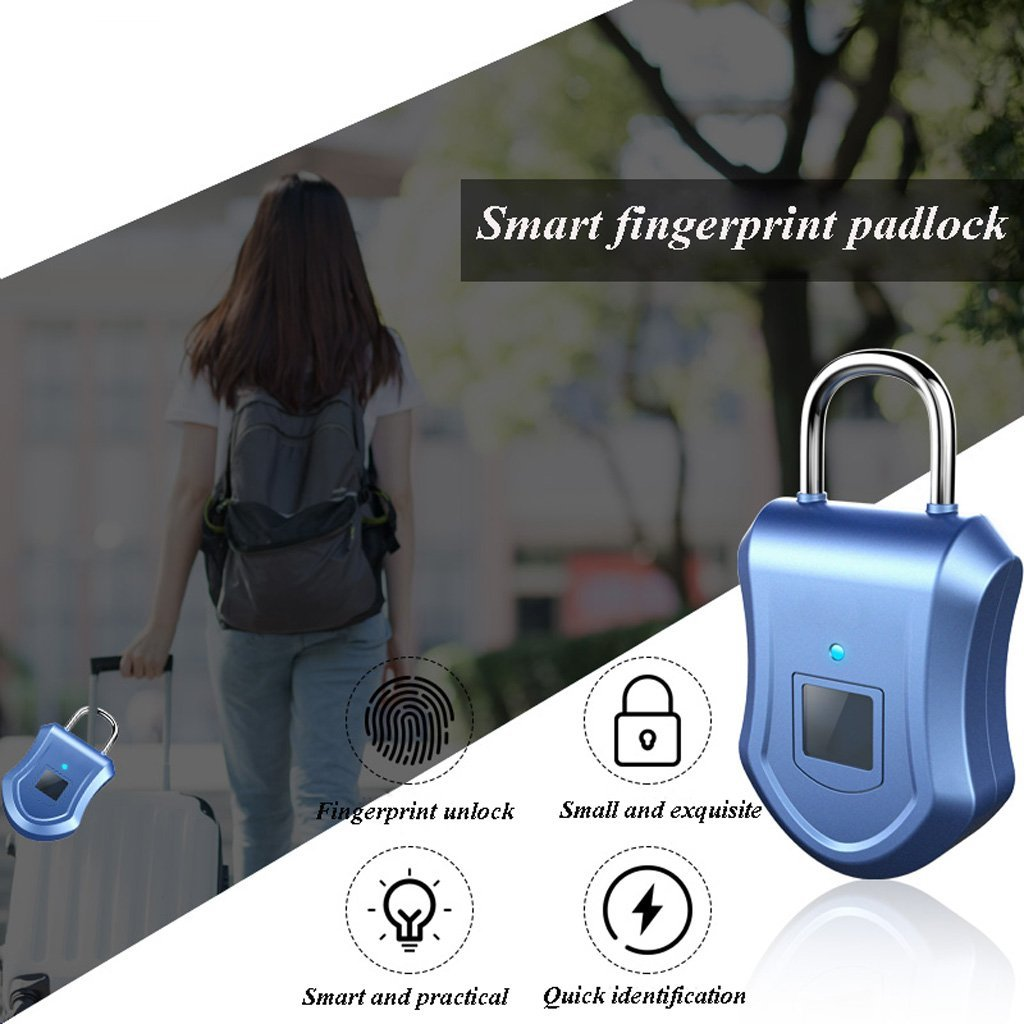 XHZNDZ Fingerprint Padlock, Smart Lock Ideal for Duffel Bag, Shopping Carts, Suitcase, Gym Locker, Cabinet, Cupboard, Drawer and More Indoor Applications by XHZNDZ (Image #4)