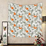 Gzhihine Custom tapestry Fox Tapestry Fox in the Winter Forest Abstract Cartoon Trees and Nature Animal Decor Pattern for Bedroom Living Room Dorm 60 W X 40 L Orange and Grey