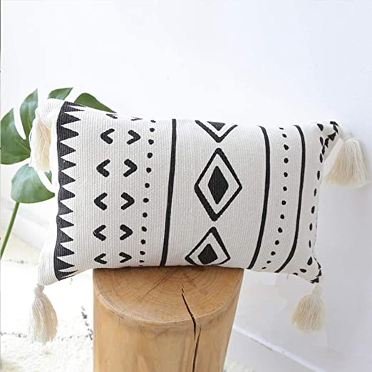 Amazon.com: Black Cream Throw Pillow, Boho Lumbar Pillow with