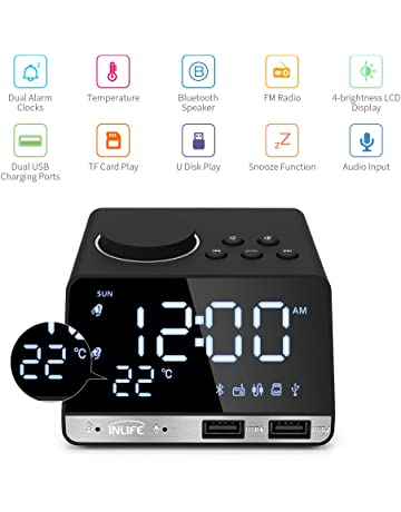 0f264810f51 Digital Alarm Clock Radio Thermometer Clock LED Alarm Clock Bluetooth  Speaker