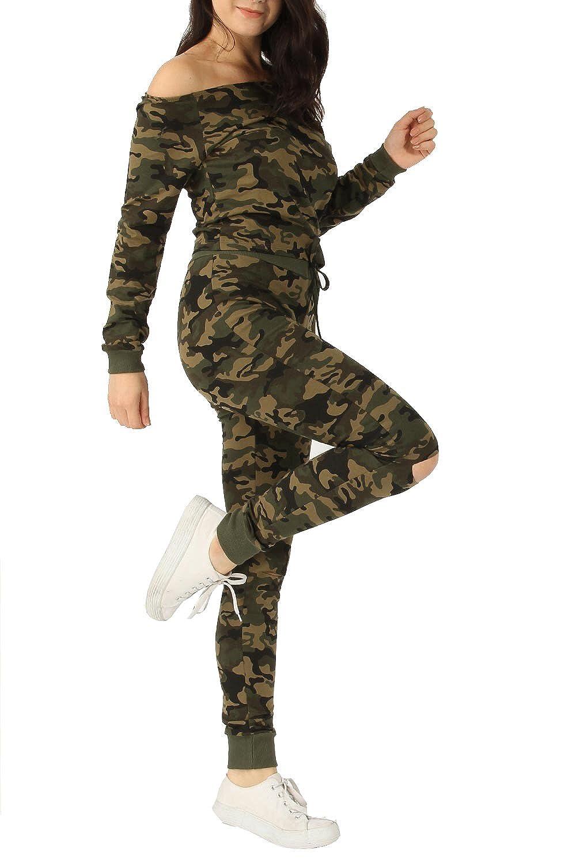 d3f460f791b757 Ladies Sweatshirt   Crop Top Lounge Suit Tracksuit Camouflage Army Print Off  The Shoulder Bardot 2 Piece Set  Amazon.co.uk  Clothing