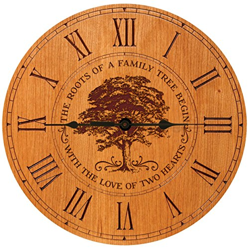 Cheap Parent Wedding Anniversary Gifts Modern Decorative Desk Wall Clocks Housewarming ideas for Couple him her The roots of a family tree begin with the Love of two hearts 12″x12″ (Cherry Roman #)