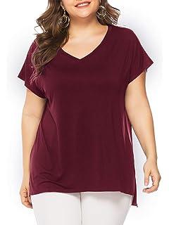 ec3ea5678f4 Florboom Womens Casual Basic Plus Size Tshirts Blank V Neck Loose High Low T  Shirts