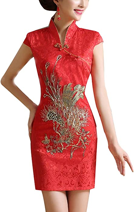 b820c618736 Robe Chinoise Mariage Traditionnel Cheongsam Slim Qipao à Manches Courtes ( Rouge)