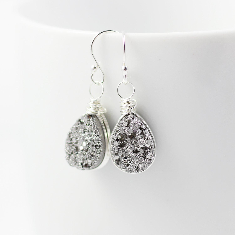 Druzy Quartz Sterling Silver Teardrop Earrings