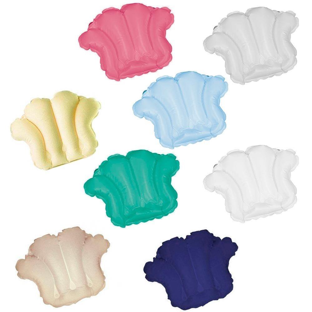 1 Random Color Inflatable BATH TUB PILLOW Neck Cushion Plastic Suction Cup AllTopBargains