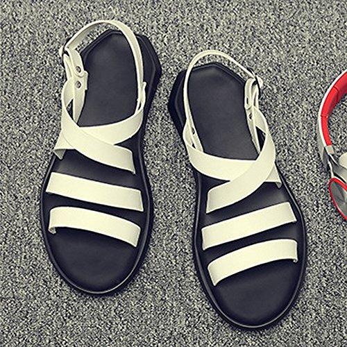 spiaggia in morbidi Antiscivolo Bianca casuali Colore sandali cintura per Sunny fibbia Dimensione pelle Scarpe uomo signori amp;Baby della da EU Nero da piatti 41 In4wvPq