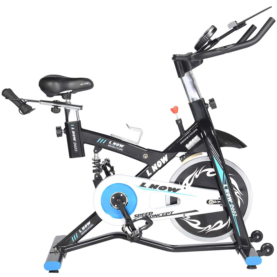 L NOW Indoor Exercise Bike Indoor Cycling Bike Stationary,Belt Drive& Spring Shock Absorber& Mental Pad Holder for Home Cardio Workout Stable and Quiet by L NOW