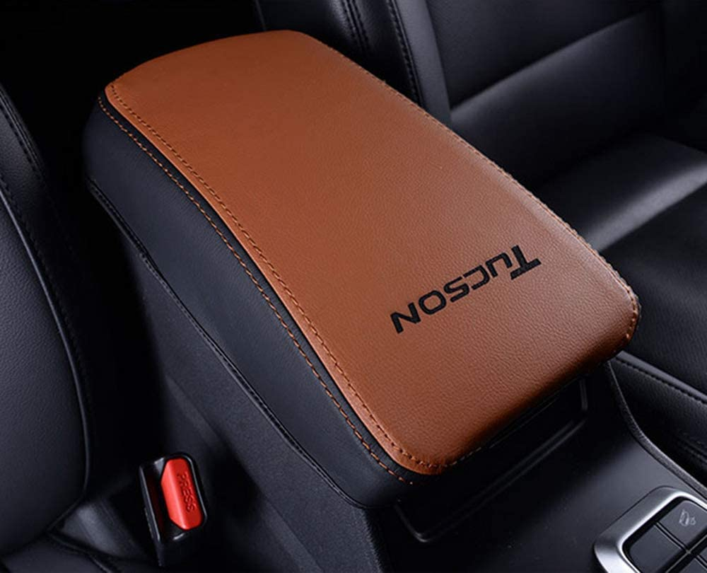 Salusy Leather Armrest Center Console Case Cover Pad Compatible for Hyundai Tucson SUV 2016-2020