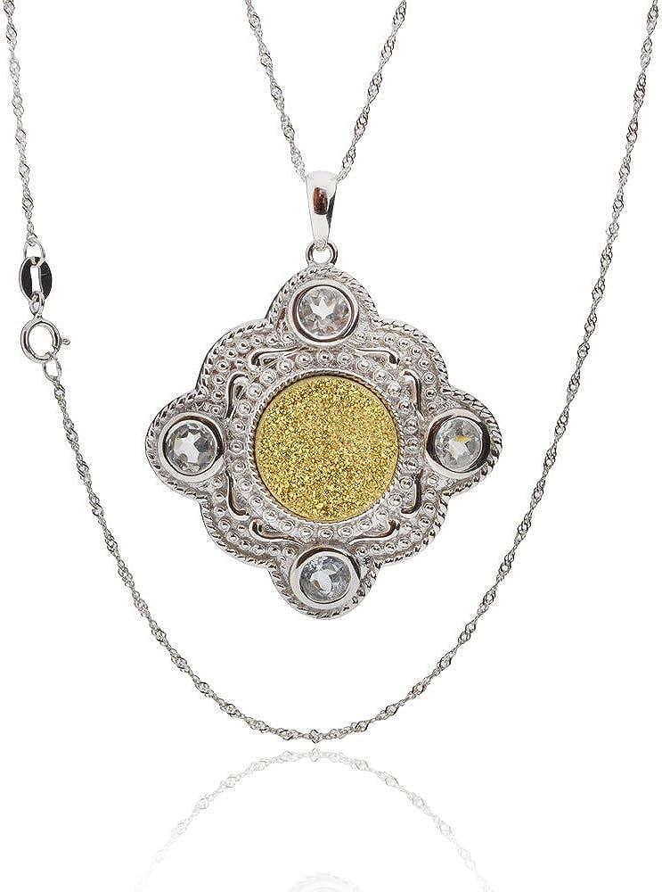 GemsChest Sterling Silver Druzy Necklace 18 Singapore Chain