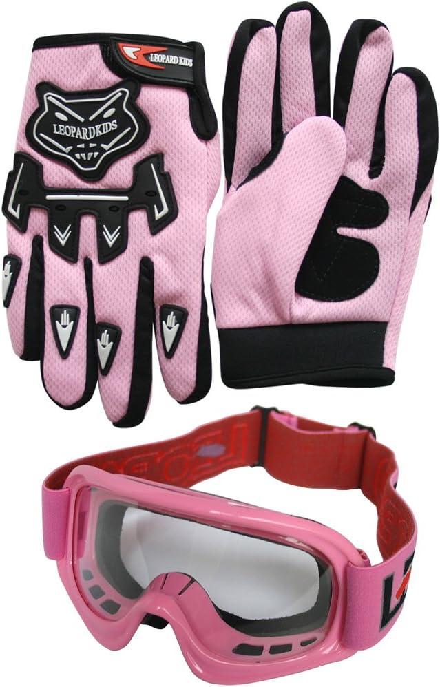 Handschuhe Brille} Kinder Motorradhelm Full Face MX Helmet M/ädchen Jungen Dirt Bike Leopard {Kinder MotocrossHelm