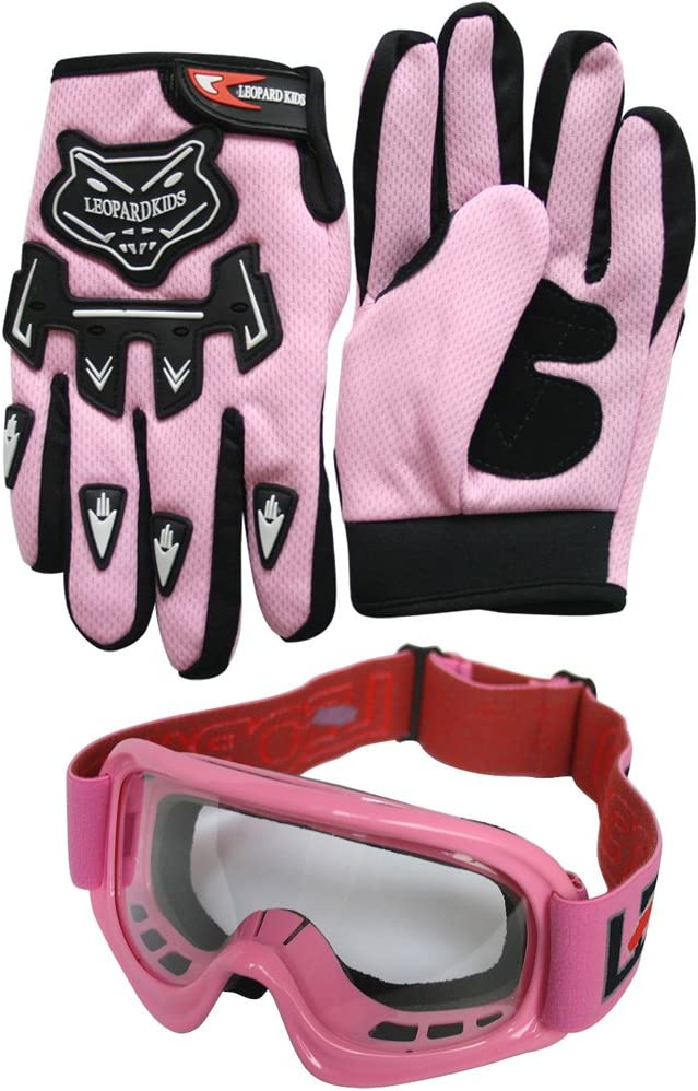 + Goggles XL 55cm Leopard LEO-X16 Black Kids Motocross Helmet M 7-8 Yrs + Gloves XL 8cm Suit for Boys Girls Quad Birt Bike Racing Karting