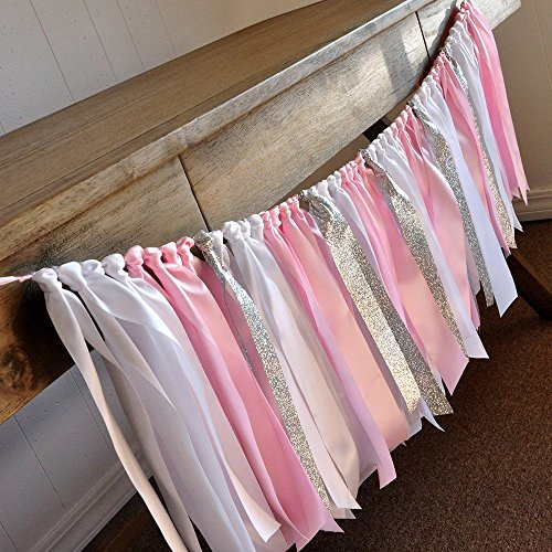 Winter Onederland Party Decorations. Baby Pink, White and Glitter Silver Ribbon Garland. 3ft. -